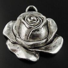15pcs Antique Silver Vintage Alloy Beauty Rose Flower Pendant Charms 08380