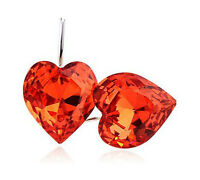 Silver Plated Drop Romantic Red Green or Violet Crystal Hearts Earrings E374-6