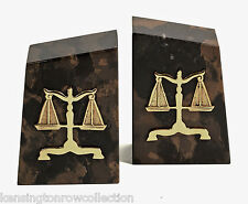 BOOKENDS - SCALES OF JUSTICE TIGER EYE MARBLE BOOKENDS - LEGAL - LAWYER