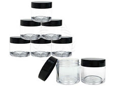 6 Pieces 30 Gram/30ml Plastic Clear Sample Jar Containers with Black Flat Lids