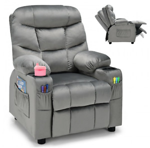 Adjustable Lounge Chair with Footrest and Side Pockets for Children