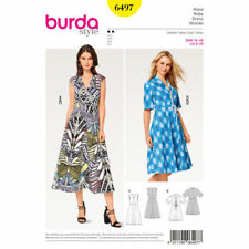 Burda Sewing Pattern 6497 Misses' 8-20 Misses V-Neck Dress Fit and Flare Skirt