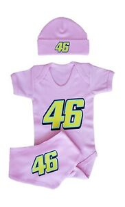 Rossi 46 Inspired Babygrow, Hat, Bib Set. MotoGP. Pink Bodysuit Baby Shower Gift