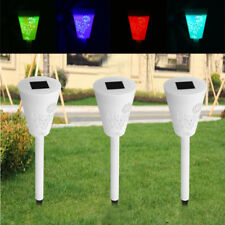 3Pcs Outdoor RGB+White LED Solar Power Light Lawn Garden Landscape Path Lamp