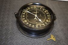 """Chelsea Mechanical 24 Hour 24Hr Wind Up Clock 8.5"""" Dial Navy A.F. Military Key"""