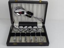 (ref165CD 32) Vintage Chrome Plated Dessert Spoons and Server