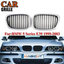 2x Chrome+Black Front Hood Kidney Grill Grille For BMW E39 525i 530i 540i 97-03
