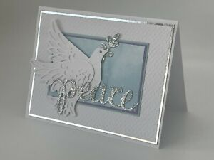 Stampin' Up Christmas Card Kit- Silver Foil, Dove Of Hope, Detailed Dove, Peace