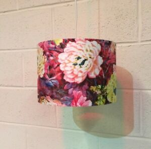 Beautifully Handmade Drum Lampshade In Vintage Painterly Floral Fabric