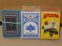 Vintage Lot 3 Decks Of Game Playing Cards OHIO Souvenir, Sealed 555 Plastic Co +