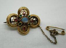 Vintage Beautiful 18 Carat Gold Ornate Opal, Emerald And Ruby Brooch