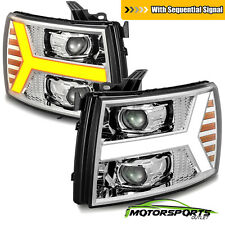 [Sequential Welcome LED] Fit 07-13 Chevy Silverado Chrome Projector Headlights