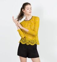 ZARA YELLOW LACE LONG SLEEVES TOP BLOUSE SS16 SIZE S (SMALL) BNTNW