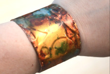 Bohemian Patina Abstract Wide Copper Cuff Bracelet Gladiator Gold Psychedelic