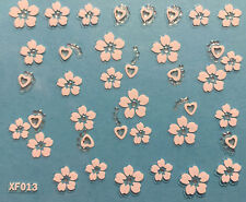 Nail Art 3D Decal Stickers White Flowers and Hearts XF013