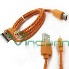 Cavo dati Tessuto Nylon ARANCIONE p HTC One M8 mini USB carica e sincronizza