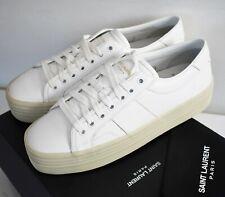 New SAINT LAURENT Paris OFF-White Leather PLATFORM WEDGE Sneakers EUR-39 US-9
