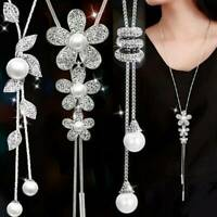 Women Pearl Crystal Leaves Flower Multilayer Pendant Necklace Long Sweater Chain