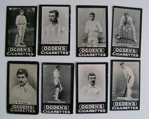 Ogdens tabs cigarette card odds x 8 cricketers and footballers