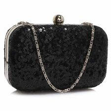 black sequin WEDDING EVENING CLUTCH hand BAG chain 0325 prom party hard case
