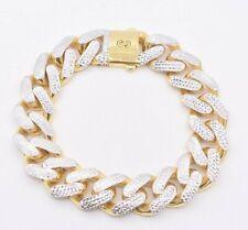 17mm Miami Cuban Link Diamond Cut Reversible Bracelet Real 10K Yellow White Gold