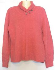 WOOLRiCH Large Soft Ruby Heather Pink Salmon Wool Button Cowl Neck Sweater L
