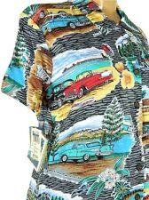 Reyn Spooner Tri Chevy II Womens Hawaiian Button Front Charcoal Shirt XS