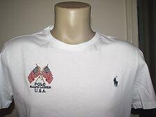 Hombre (xl) Polo-ralph Lauren blanco EUA banderas & Pony camiseta (a medida)