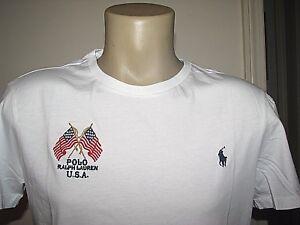 Homme (XXL) Polo-Ralph Lauren Blanc USA Drapeaux & Poney T-Shirt (Coupe Ajustée)