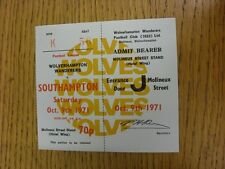 09/10/1971 Ticket: Wolverhampton Wanderers v Southampton  . Thanks for viewing o