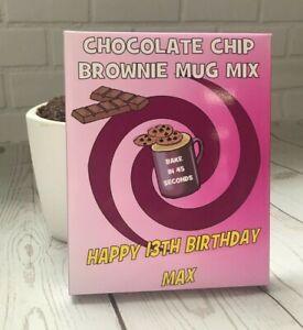 Personalised Chocolate Chip Brownie Mug Mix x3~Microwave-Birthday gift present