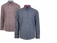 KAM  Mens Big & Tall Long Sleeve Button Down  collared Check Shirt 100% COTTON