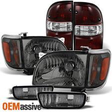 2001-2004 Toyota Tacoma Smoked Headlights+Corner+Bumper Lamp+Dark Red Tail Light