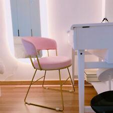 Modern Pink Velvet Round Cushion Golden Backrest Dressing Table Chairs Fashion