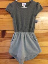 LuLaRoe Mae Pocket Dress Gray Color Block EUC Girls Size 2