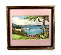 Antique Framed Print Tropical Landscape Beach Ocean Bermuda by Ethel Tucker