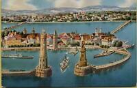 2287: Ansichtskarte Postkarte Lindau im Bodensee Hafen