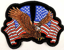 American Eagle With 2 Us Usa Flags Biker Motorcycle Uniform Patch