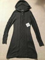 NEW Athleta Women's Hooded Cable Knit Sweater Dress Long Sleeve 1/4 Zip Sz M #C3