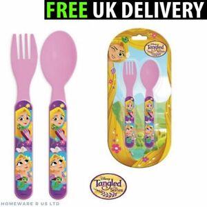 GIRLS CHILDRENS DISNEY PRINCESS CUTLERY SET PLASTIC DINNER 13.5CM FORKS SPOONS