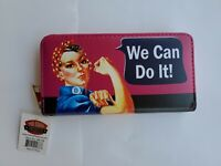 "Rosie the Riveter ""We Can Do It"" Zippered Wallet with Wrist Strap (NIP)"