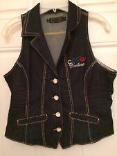 Women's Coogi Studded Vest  Large  Blue Denim Jean Sz  XL