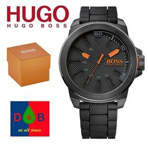Genuine Hugo Boss 1513004 Men's Orange New York Black Strap Dial Watch Boxed NEW