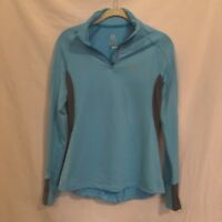 Salomon ActiTherm Turquoise Aqua and Gray 1/4 Zip Pullover Running Shirt Small