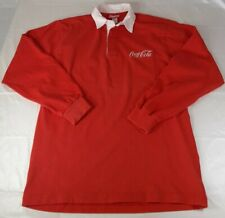 Vintage Coca-Cola Rugby Polo Long Sleeve Shirt Men's (Size- Medium) Red