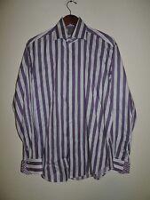 Thomas Dean mens Large shirt purple striped long sleeve flip cuff button front