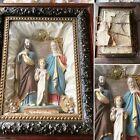 Victorian Antique Catholic Shadow Box Jesus, Mary & Joseph Statue 1890's