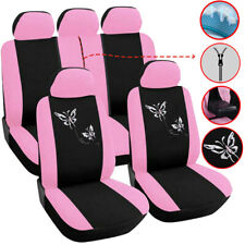 5-Seat Pink Car Seat Covers Front Rear Full Set Polyester Universal Accessories