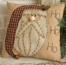 New SANTA HO HO HO PILLOW Stitchery Rusty Bell Plaid Primitive Country Throw