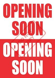 OPENING SOON POSTER - SHOP WINDOW SIGN BANNER - FREE UK P&P a